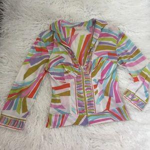 Vintage Emilio Pucci deep V corset blouse